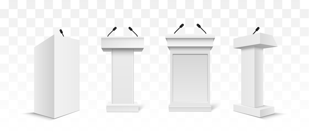 Vector wit podium tribune rostrum stand met microfoons Premium Vector