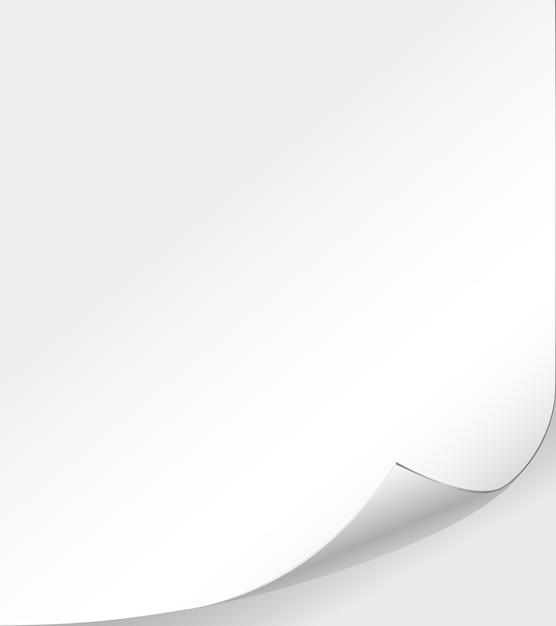 Vector witboek achtergrond met gekrulde hoek Gratis Vector