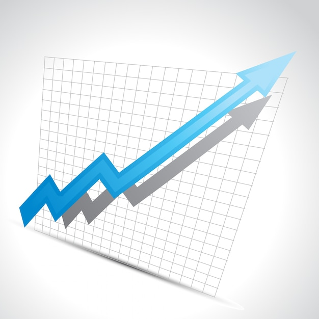 Vector zakelijke pijl met groei vooruitgang Gratis Vector