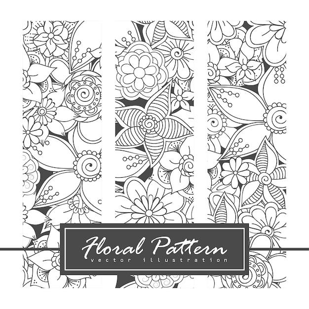 Vector zentangle patronen. zwart en wit abstract floral achtergrond. Gratis Vector