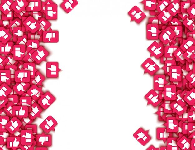 Vector zoals duimschroef opwaarts pictogrammen web knoppen patroon Premium Vector