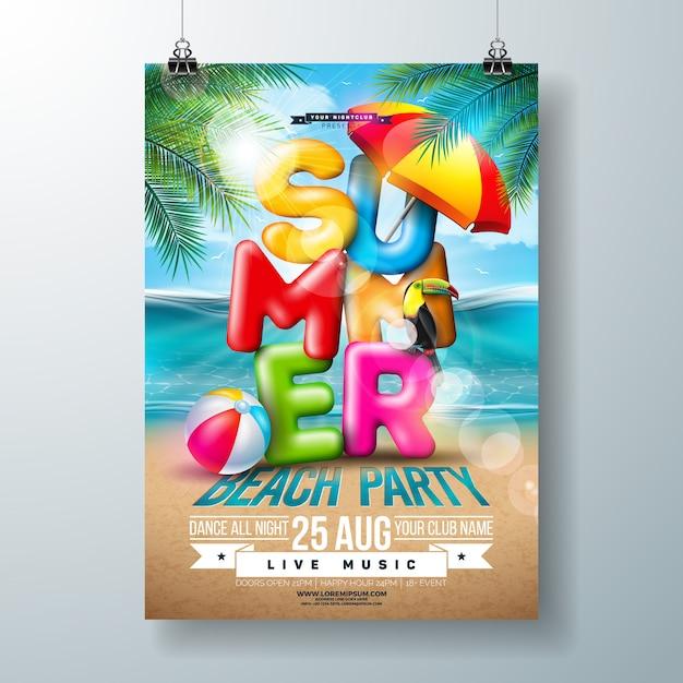 Vector zomer beach party flyer design met 3d typografie brief en tropische palmbladeren op oceaan landschap-achtergrond. vakantie vakantie ontwerp Gratis Vector