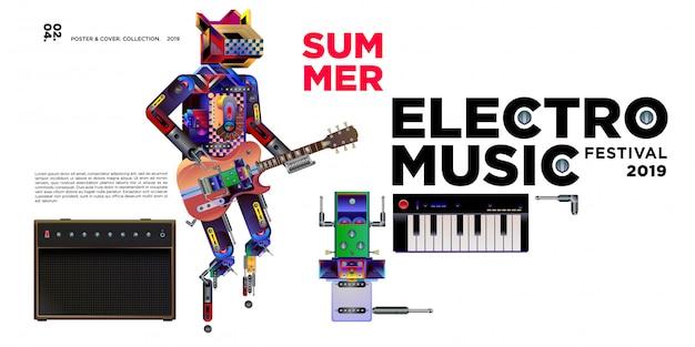 Vector zomer electro muziek festival banner ontwerpsjabloon Premium Vector