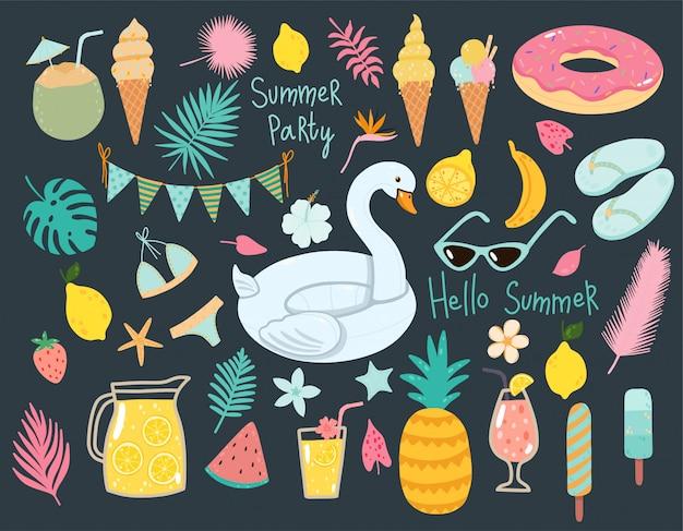 Vector zomer set met zwembad praalwagens, cocktails, tropisch fruit, ijsjes, palmbladeren. Premium Vector