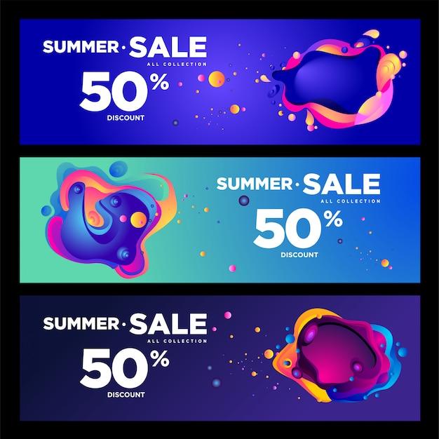 Vector zomer verkoop 50% korting vloeiende kleurrijke banner Premium Vector