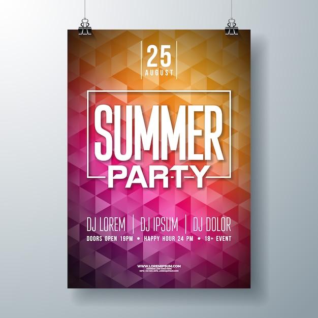 Vector zomer viering partij flyer ontwerpen met abstracte achtergrond Premium Vector