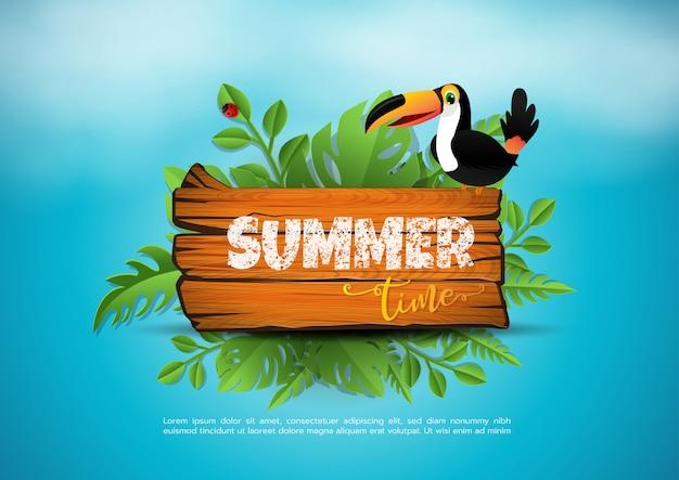 Vector zomertijd vakantie typografische illustratie op vintage hout. tropische planten, bloemen, strandbal, vogel Premium Vector