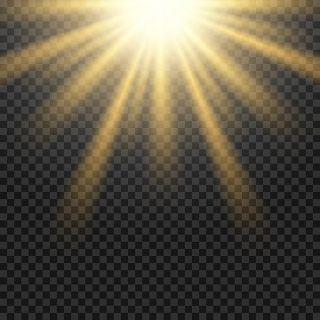 Vector zon licht lens flare op transparant raster Premium Vector