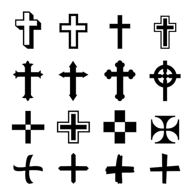 Vector zwarte kruisen pictogramserie Premium Vector