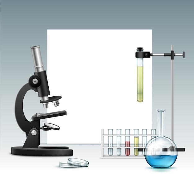 Vector zwarte metalen optische microscoop met transparant glazen petrischaal, kolf, reageerbuizen met groen-rode vloeistof, laboratoriumstandaard en copyspace geïsoleerd op achtergrond Gratis Vector