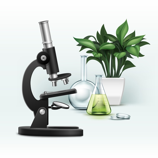 Vector zwarte metalen optische microscoop, petrischaal, kolf met groene vloeistof en plant geïsoleerd op de achtergrond Gratis Vector