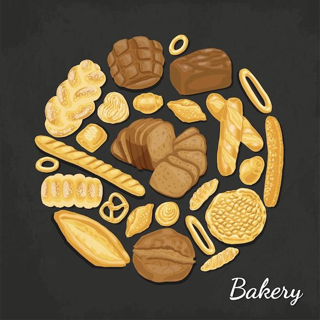 Vectorachtergrond met bakkerijproducten Premium Vector