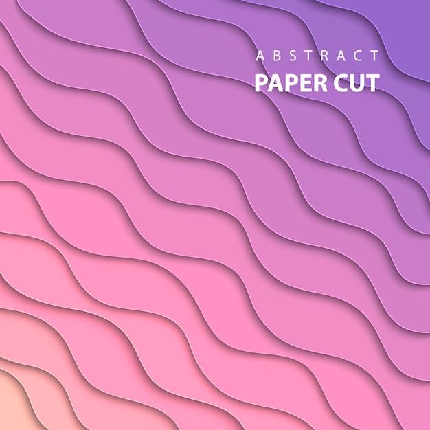 Vectorachtergrond met roze en lila papier knippen Premium Vector
