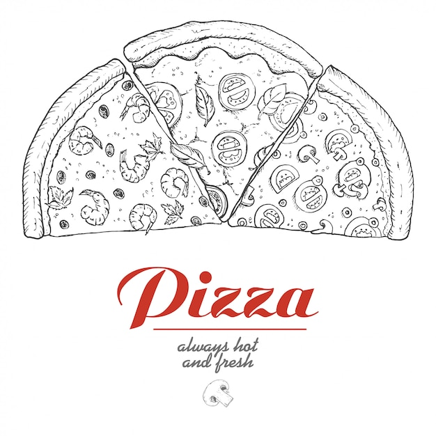 Vectorachtergrond met stukken van pizza Premium Vector