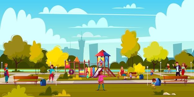 Vectorachtergrond van beeldverhaalspeelplaats in park met mensen, kinderen het spelen Gratis Vector
