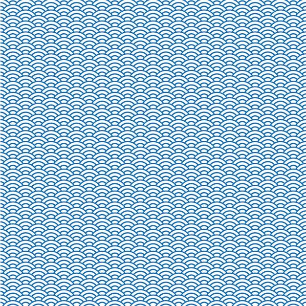 Vectorachtergrond van blauw japans golfpatroon Premium Vector