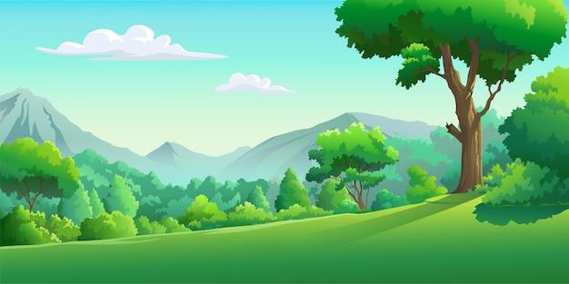 Vectorafbeeldingen van het bos overdag Premium Vector