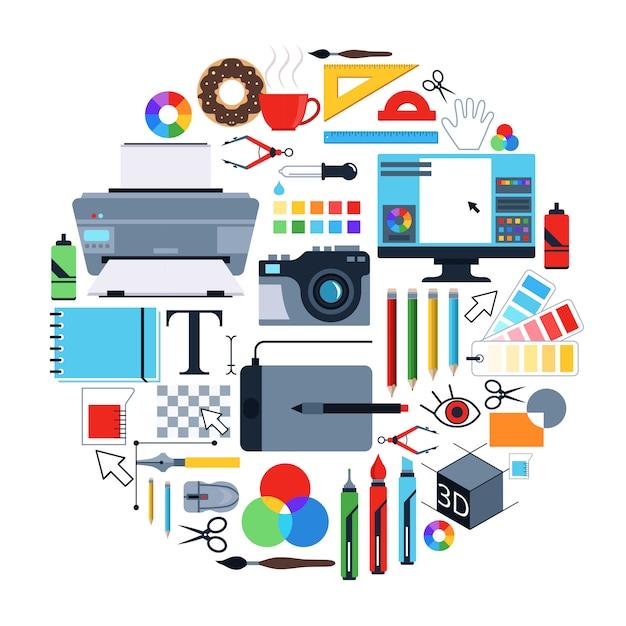 Vectorafbeeldingen van hulpmiddelen voor grafische ontwerpers Premium Vector