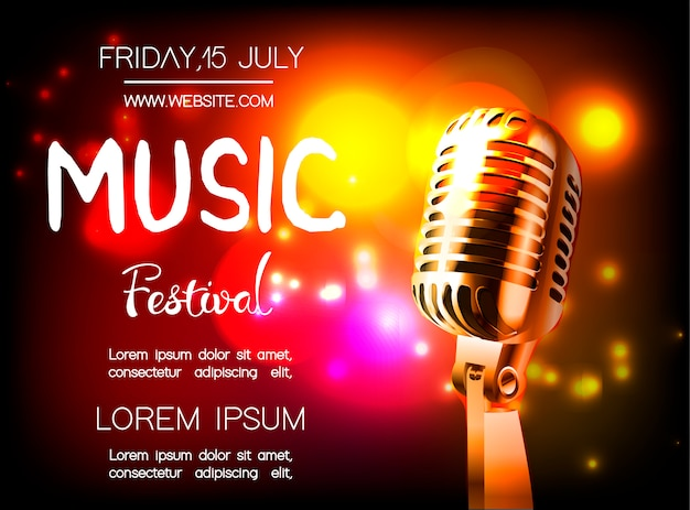 Vectoraffiche voor muziekfestival. Premium Vector