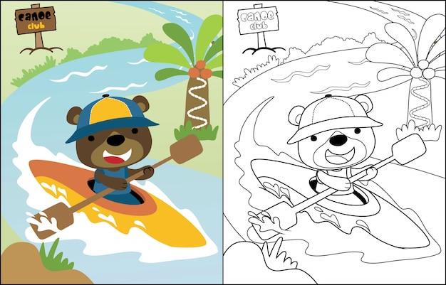 Vectorbeeldverhaal grappige beer op kano Premium Vector