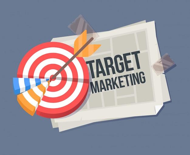 Vectorbeeldverhaalillustratie van een gevouwen krant. belangrijke informatiesjabloon met doel. target marketing cartoon afbeelding. Premium Vector