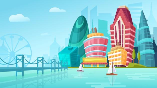 Vectorbeeldverhaalillustratie van een stedelijk landschap met grote moderne gebouwen dichtbij brug met jachten. Premium Vector