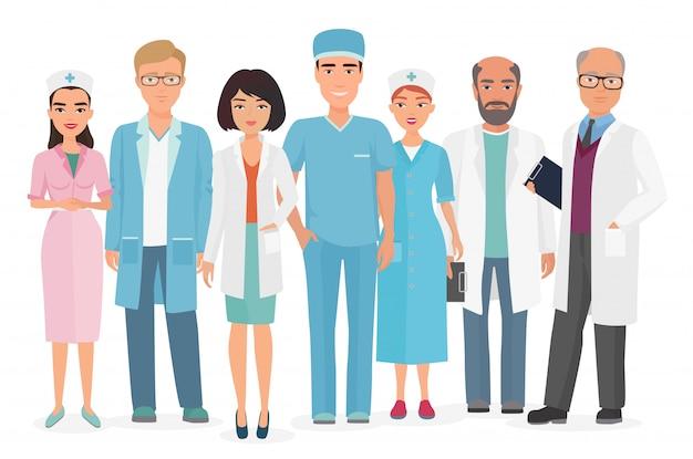 Vectorbeeldverhaalillustratie van groep artsen, verpleegsters en ander medisch personeel. Premium Vector