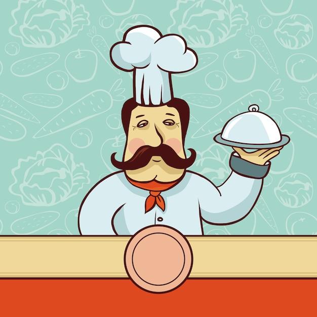 Vectorbeeldverhaalkarakter - chef-kokkok met plaat Premium Vector