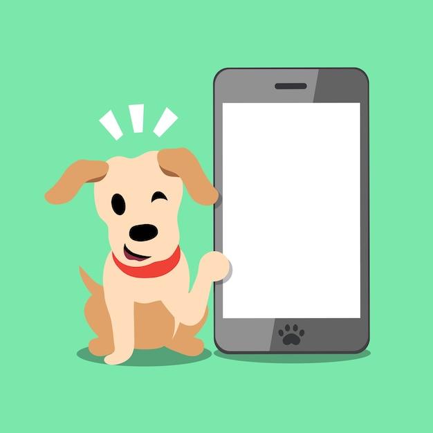 Vectorbeeldverhaalkarakter labrador en smartphone Premium Vector