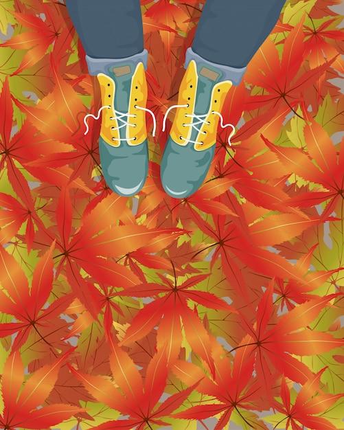 Vectorbeeldverhaalvrouw die leerlaarzen op voetpad met dalend esdoornblad dragen. illustratie voor de herfst of herfst verkoop. Premium Vector