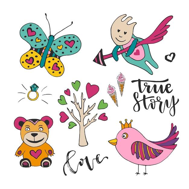 Vectordecoratie voor de dag van de valentijnskaartendeliefde. verzameling van cute doodle ontwerpelementen. cupido, vogel, vlinder en boom Premium Vector