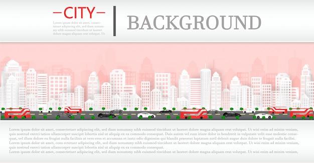 Vectordocument besnoeiing en cityscape met gebouwen en huizen en een tijdschriftachtergrond. Premium Vector