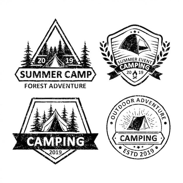 Vectorelement van kamperen en outdoor avontuur Premium Vector