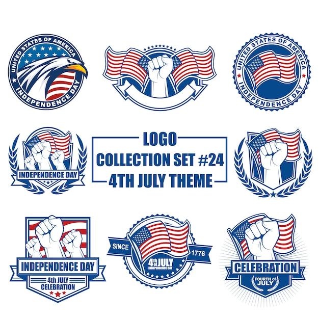 Vectorembleem, kenteken, embleem, symbool en pictograminzameling die met het thema van de onafhankelijkheidsdag van de vs wordt geplaatst Premium Vector
