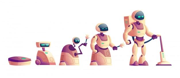 Vectorevolutie van robots, stofzuigerconcept Gratis Vector