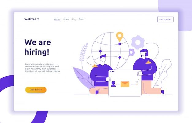 Vectorgroepswerk en bedrijfsstrategieweb-pagina banner Premium Vector