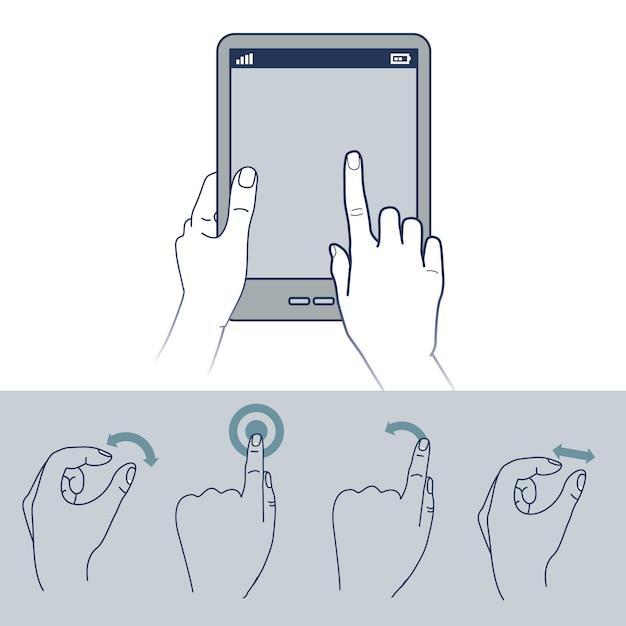 Vectorhandpictogrammen - touchscreen interfaceillustratie Premium Vector