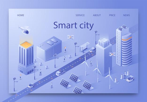 Vectorillustratie geschreven slimme stad isometrisch. Premium Vector