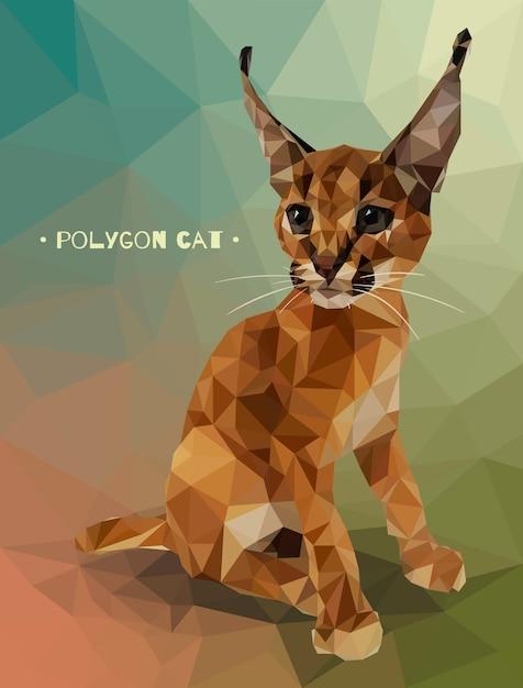 Vectorillustratie in lage veelhoekstijl. kitten caracal. Premium Vector