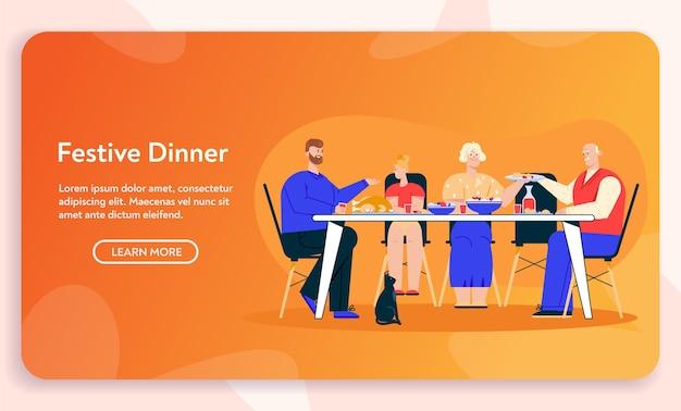 Vectorillustratie karakter van familiediner. grootvader, grootmoeder, dochter en vader zitten aan feesttafel, gerechten eten. Premium Vector