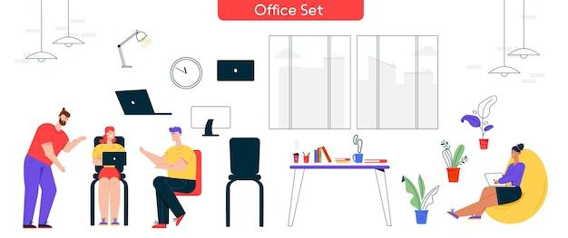Vectorillustratie karakter van werkproces op kantoor. set van man, vrouw collega vergadering, taken bespreken. interieurontwerpelementen: laptop, computer, bureau, geïsoleerde ergonomische meubels Premium Vector