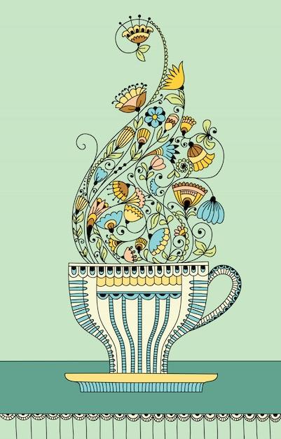 Vectorillustratie met een kopje aromatische bloem thee Premium Vector