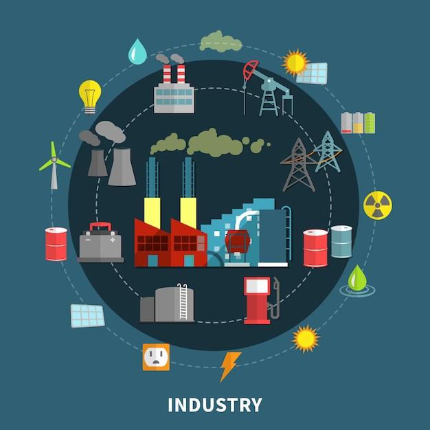 Vectorillustratie met industrie elementen Gratis Vector