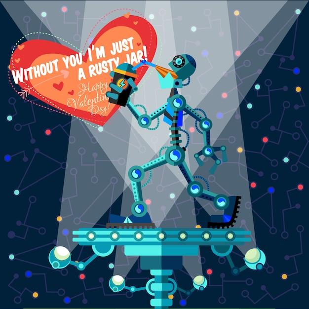 Vectorillustratie over robot voor valentijnsdag Premium Vector