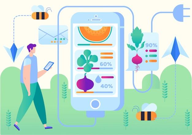 Vectorillustratie slimme boerderij mobiele applicatie. Premium Vector