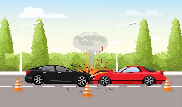 Vectorillustratie van auto-ongeluk op de weg. twee auto's crashen, auto-ongeluk concept in vlakke stijl. Premium Vector