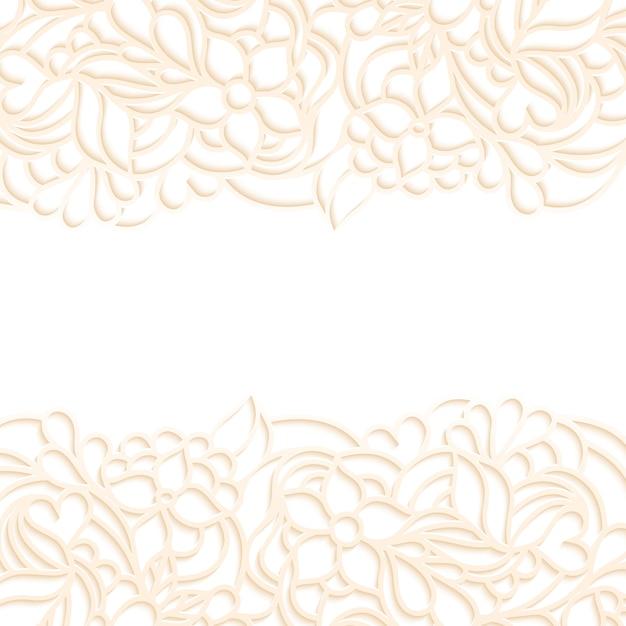 Vectorillustratie van bloemengrens op witte achtergrond Premium Vector