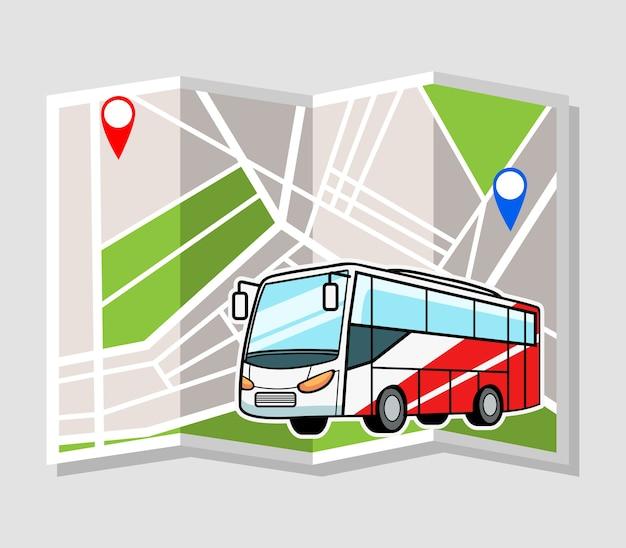 Vectorillustratie van bus met stadskaart als achtergrond Premium Vector