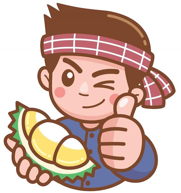 Vectorillustratie van cartoon durian verkoper presenteren Premium Vector