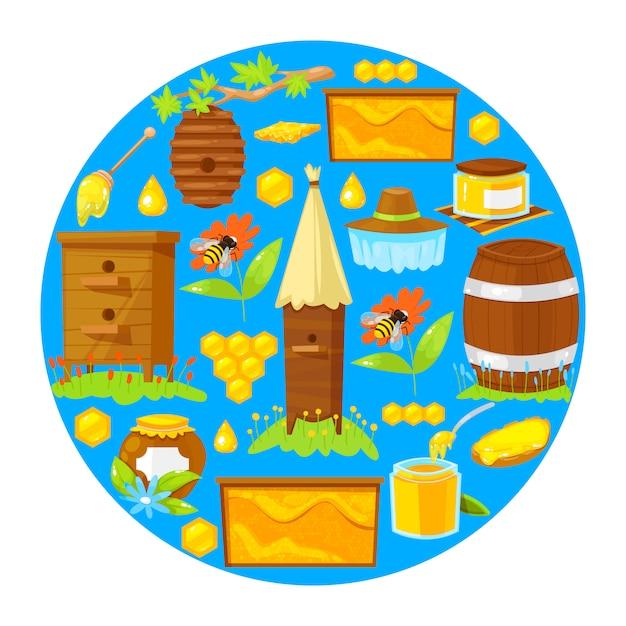 Vectorillustratie van cartoon elementen van de bijenteelt op blauwe achtergrond. Premium Vector
